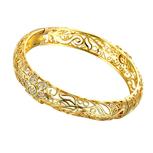 76502f4a662c 18K Yellow Gold Plated Flower Filigree Bangle Bracelets Fashion Jewellery
