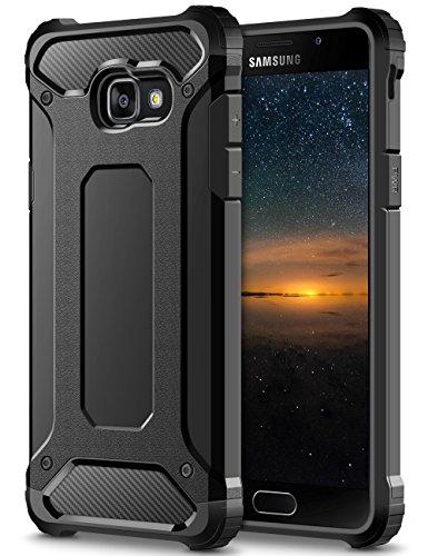 Coolden Samsung Galaxy A5 2017 Hülle, Premium [Armor Serie] Outdoor Stoßfest Schutzhülle Tough Silikon + Hard Bumper 4 Air Cushion Ecken Militärstandard Handyhülle für Samsung Galaxy A5 2017(Schwarz)
