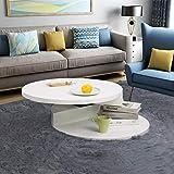 Couchtisch, weiß, Hochglanz, modern, runder Couchtisch, mit drehbarer Tischplatte, Wohnzimmermöbel, 70 x 70 x 28 cm