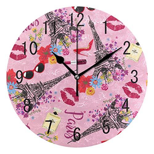 Use7 Home Decor Wanduhr, Eiffelturm, Blumen, Lippenstift aus Acryl, rund, Nicht tickend, geräuschlose Uhr, Kunst für Wohnzimmer, Küche, Schlafzimmer