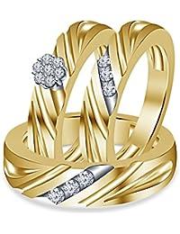 Silvernshine 14k Yellow Gold Fn .925 Silver 1/3 Ct Round Cut Diamond Trio Engagement Ring Set