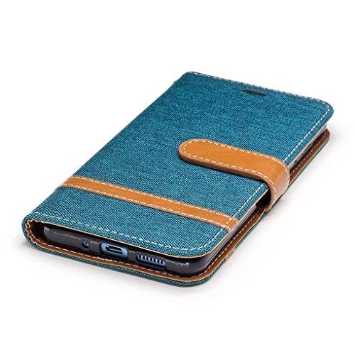 König-Shop Handy Hülle Schutz Case Jeans Optik Bookstyle Tasche Etuis, Für Handy:Huawei P10 Lite, Farbe wählen:Schwarz Grün