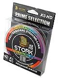 Stork HDx8, 8-Fach geflochtene premium Angelschnur 300m (Multicolor, 30 lbs / 13.6 kg / 0.22 mm)