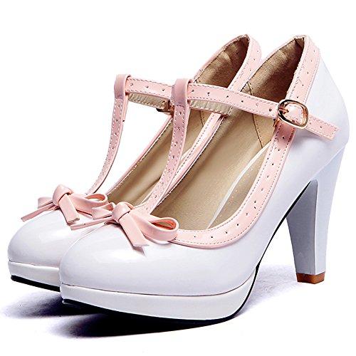 COOLCEPT Damen T-Spange Pumps Hohe Ferse Schuhe Extra Sizes 16 Colors White