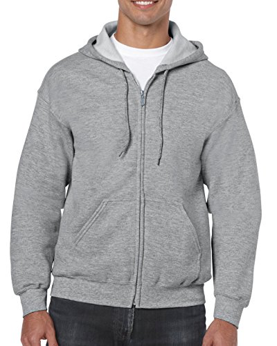 Gildan Heavy Blend Adult Full-Zip Hooded Sweatshirt, Sport Grey, XXXXX-Large -