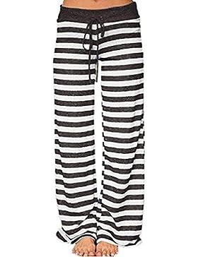 Honghu Mujeres Pantalones Anchos de Pierna Largo Cintura Media de Pantalones Caseros