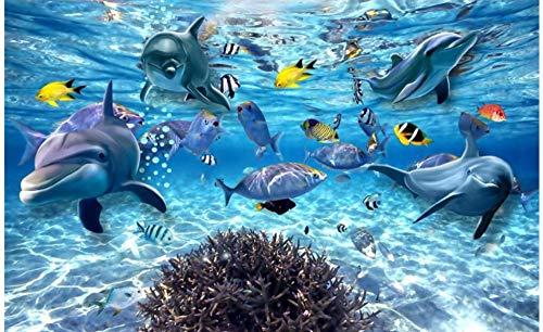 JHFVB 3D Stereo Unterwasserwelt Fisch Leben Kinderzimmer TV Hintergrund 3D Wandbild Tapete, 100 * 70cm