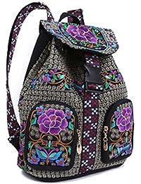 2290d14942051 WLFHM Retro Lässig Stickerei Ethno-Style Taschen Stickerei Rucksäcke Damen  Rucksäcke Leinwand Aufbewahrungsbeutel