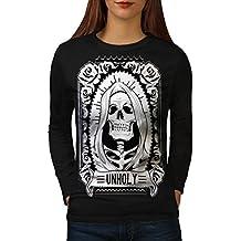wellcoda unheilig Rose Tod Schädel Frau S-2XL Langarm T-Shirt