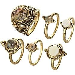 Kofun Sonar, 6Unidades Boho Opal Stone Finger Crystal Knuckle Band Midi Anillos Apilable Ring Juego