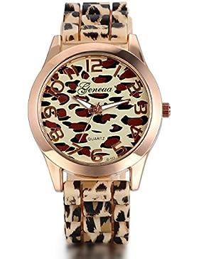 JewelryWe Damen Armbanduhr, Elegant Casual Leopard Analog Quarz Silikon Armband Uhr mit Digital Zifferblatt, Gelb