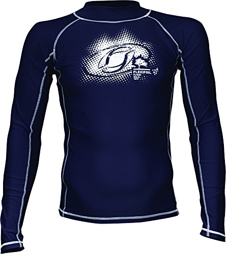 Male Adult Long Sleeve Thermal Lycra Blue Rash Vest, Ideal for Swimming, Diving, Kitesurfing and Surfing