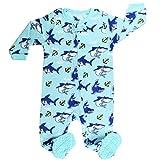 Elowel Baby Jungen Hai Strampler Pyjama Schlafanzug Fleece Flauschig 6-12 Monate