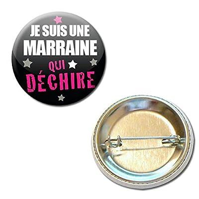 Je Suis une Marraine qui Déchire Badge Rond à Épingle 3,8 centimètres Idée Cadeau Accessoire Baptême Communion Noël