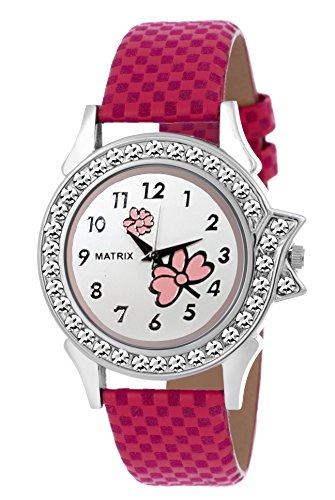 Matrix Analog Pink Dial & leather strap, Women & Girls Watch-WN-26