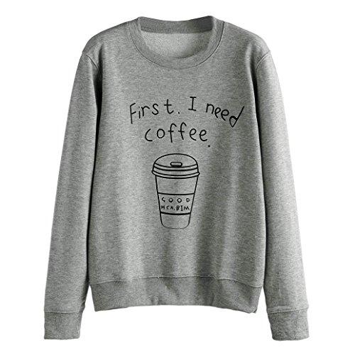 WOCACHI Damen Frauen Langarm-Bluse Letter Print Sweatshirt Pullover Geeignet für Sport und Freizeit (L, Grau)