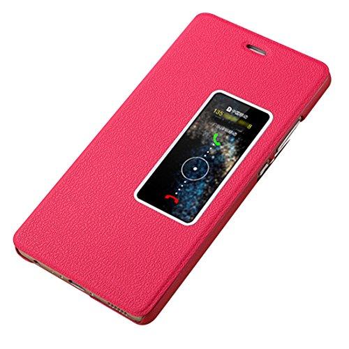 Huawei P10 Plus Custodia, JEPER Pu Pelle Portafoglio Bookstyle Flip Cover Stand Case con chiusa Magnetica Protettiva in pelle per P10 Plus Huawei (Huawei P10 Plus, rose red)