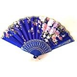 AUM- Lace Trim Colorful, Flower Floral Pattern, Hand Held Folding Bamboo Japanese Silk Hand Fan (Dark Blue-L).100% Hand Crafted, Gift Fan For Girls, Women, Wedding Party. Buy 100% Original Imported Hand Fan From Aum Impex Only