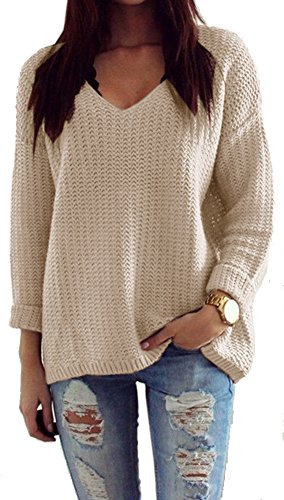 Mikos*Damen Pullover Winter Casual Long Sleeve Loose Strick Pullover Sweater Top Outwear (627) (Beige) -