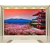 Mkkwp Personalizzato 3D Foto Wallpaper Murale Soggiorno Ciliegio Fuji Montagna Edificio 3D Pittura Divano Tv Sfondo Muro Non Tessuto Murale-140x100cm