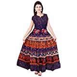#5: Mudrika Women's Cotton Jaipuri Print Long Dress One Piece with Sleeves Attached Inside with Back Strips (FR_3621, Multicolour, Free Size)