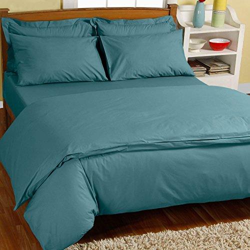 Homescapes Bettwäsche-Set 3-teilig Bettbezug 240 x 220 cm mit Kissenhüllen 80 x 80 cm seegrün/türkis 100% reine ägyptische Baumwolle Fadendichte 200 Perkal-Bettwäsche -