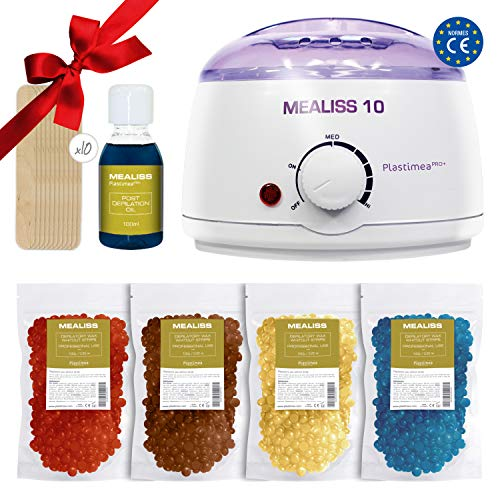 Waxing Kit Wachs ♥ MEALISS 10 ♥4in1 Komplett Brazilian Waxing-Set - Elektrischer Wachswärmer - Heisswachs-Epilation ♥ Luxus-Haarentfernung für zuhause