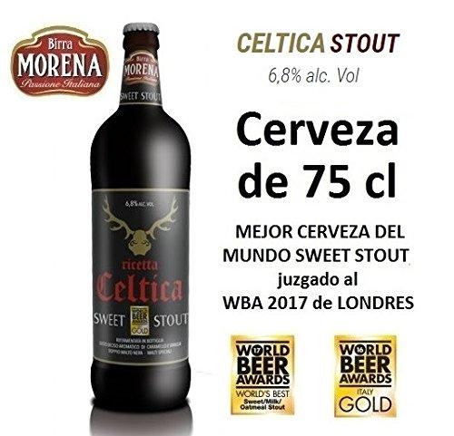 Birra Morena Celtica Stout 6,8 % alc vol CL 75 Mejor cerveza del mundo Sweet Stout aroma caramelo vainilla chocolate Artesanal Craft Beer Italiana Premiada Mejor Regalo Eventos Navidad Pascua.