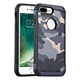 JAMMYLIZARD Camouflage Hülle für iPhone 8 Plus und iPhone 7 Plus | Outdoor-Schutzhülle [Army HD] Military Case aus Silikon und Leder mit Tarnmuster, Blau