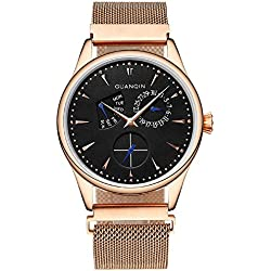 GUANQIN Analogue Quartz Men Popular Brand Stainless Steel Calendar Week Waterproof Fashionable Unique Design Wrist Watch Gold Black