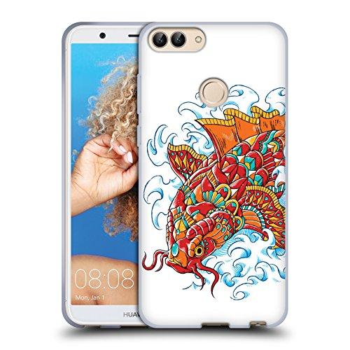Head case designs ufficiale bioworkz tattoo koi decorato decorazioni colorate 3 cover morbida in gel per huawei p smart/enjoy 7s
