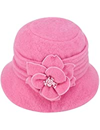 d52e02a1416185 Women Elegant Classic Ladies Soft Wool Cloche Bucket Floral Winter Cap Hat  A299
