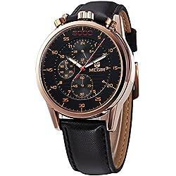 Mann, Quarzuhren ,Armbanduhr, Wirtschaft, Freizeit, Outdoor, multifunktionale, 6 Zeiger, PU-Leder, W0516