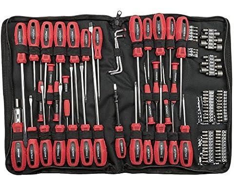 100embouts pour tournevis avec étui Zip–Rouge
