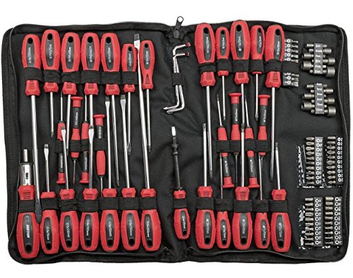 Cantilever Steel Tool Box (Kunstnägel Schraubendreher-Bits Set mit Reißverschluss Fall–Rot)