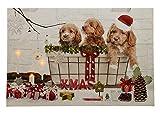 LED Bild Weihnachten Hundewelpen Leinwand Wandbild 40x60cm