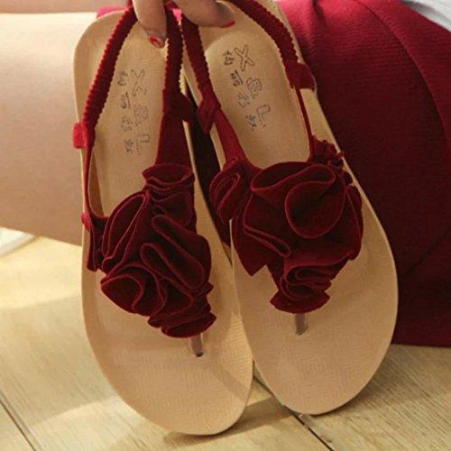 Transer® Damen Sandalen Flach Künstliches PU+Gummi Blume A-Gurt Beige Rot Schwarz Sandalen (Bitte achten Sie auf die Größentabelle. Bitte eine Nummer größer bestellen) Rot