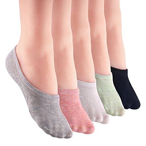 LANTING Damen Füßlinge Baumwolle Sneaker Socken mit Rutschfest Silikon Ballerina Bunte Kurze Socken 5 Per (EU 35-39) -