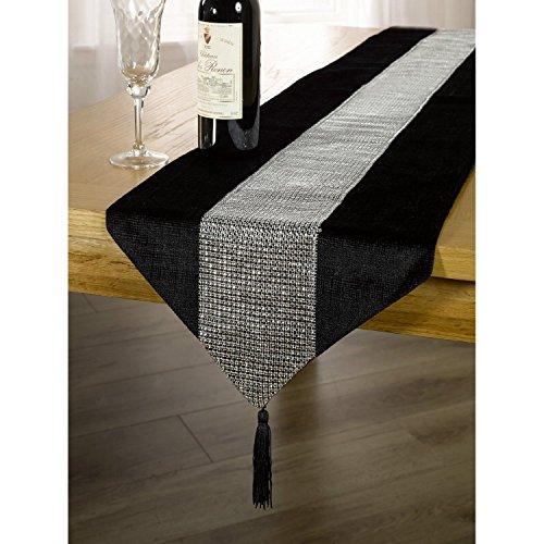 DegGod Luxus Samt stilvolle atmosphäre minimalistischen modernen Diamanten Tischläufer / Tischdecke Couchtisch Tuch und zwei Quasten (32 x 185 cm) (Schwarz)