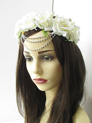 Blanc ivoire Argent Strass Fleur Rose Couronne de cheveux Serre-tête guirlande Festival 475 * exclusivement Vendu par Starcrossed Beauty *