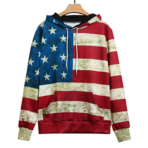 Liusdh Blouse Women Esprit Long Sleeve Patchwork Unisex Fashion American Flag Print Pockets Slim Pullover Hoodie Sweatshirt