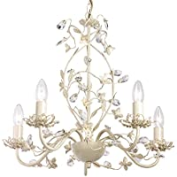 Endon Lullaby 5 arm chandelier pendant light (Lullaby-5CR, cream, gold)