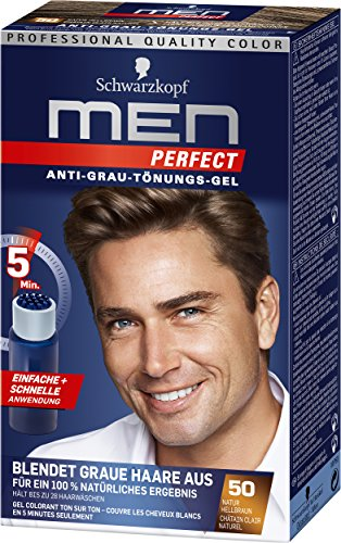 Schwarzkopf Men Perfect Anti-Grau-Tönungs-Gel, 50 Natur Hellbraun,