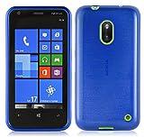 Cadorabo - Custodia silicone TPU Nokia Lumia 620 Design: METALLO SPAZZOLATO brushed - Case Cover Involucro Bumper Astuccio in BLU-MARINA
