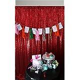 ShinyBeauty 2ftx7ft Pailletten - Hintergrund Rot Schimmern Pailletten - Photo Booth Kulisse f¨¹r Weihnachten Thanksgiving