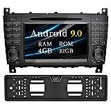 Ohok 7 Zoll Bildschirm 2 Din Autoradio Android 9.0 Pie Octa Core 4G+32G Radio mit Navi Moniceiver DVD GPS Navigation Unterstützt Bluetooth WLAN DAB+ für Mercedes-Benz C-Class/CLK mit Rückfahrkamera