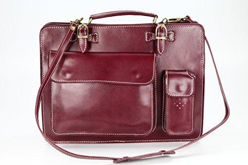"""BELLI """"Design Bag Verona"""" ital. Leder Businesstasche Arbeitstasche Messenger Aktentasche Lehrertasche Laptoptasche unisex - Farbauswahl - 39x29x11 cm (B x H x T) Bordeaux"""
