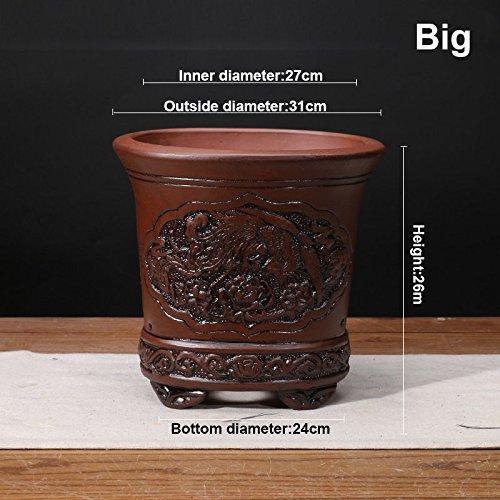 Nclon [style chinois] Yixing Unrgile pourpre Pot de fleur Clivia Bonsaï Les orchidées Plantes en pots Respirabilité Revêtement céramique Pot de fleur Un-Gros