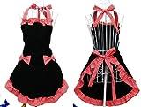 Kochschürze, Schwarz und Rot, mit Schleife, Retro-Stil, Baumwolle Schürze mit Muster Besonderes Geschenk