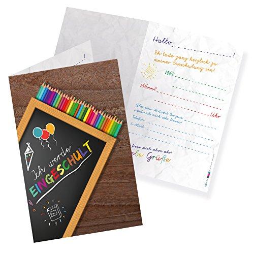 itenga 12x Einladungskarte Klappkarte A6 Hochformat zum Schulanfang Einschulung Schulstart 1.Schultag